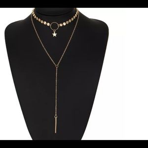 Gold Plated Choker Special Sequins & Bar Necklace